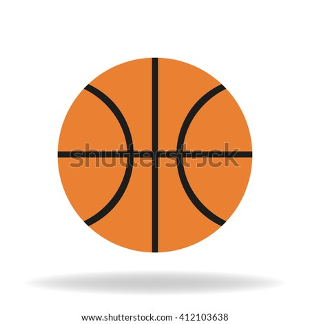Icon basketball ball  with shadow on a white background - stock vector