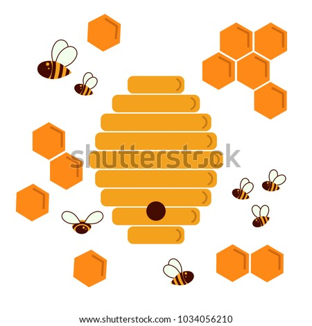Icon Bee Hive And Honeycomb Hexagon Natural Honey Structs Beehives Vector Illustration