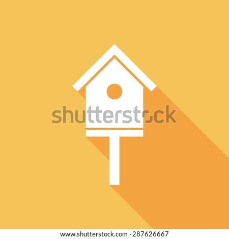 Icon bird-house with a long shadow