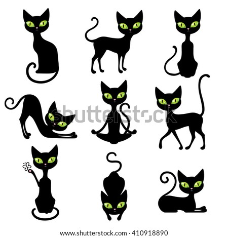 Icon black cats set cute pets in various poses with big green eyes isolated vector illustration