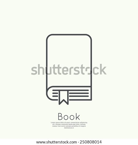 Icon book with bookmark. minimal. Outline. for web and mobile applications - stock vector