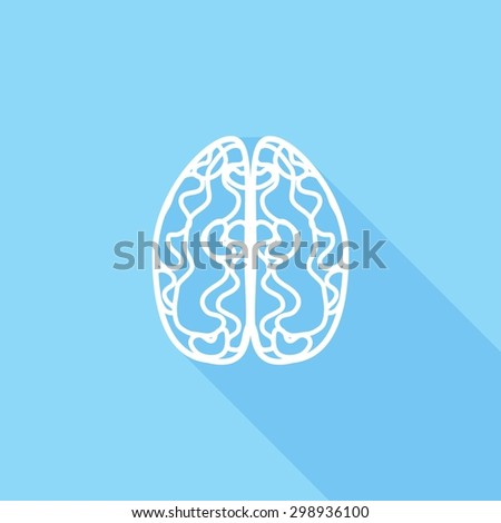 Icon brain with a long shadow - stock vector