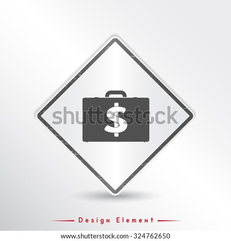 Icon briefcase. Emblem or label with shadow. Dollar sign. Flat design style. Made vector illustration.Emblem or label with shadow. - stock vector