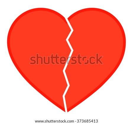 Icon Broken Heart Red Heart Vector Stock Vector 373685413 Shutterstock
