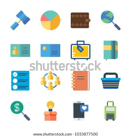 icon Business with hammer, teamwork, business card, pie chart and wallet