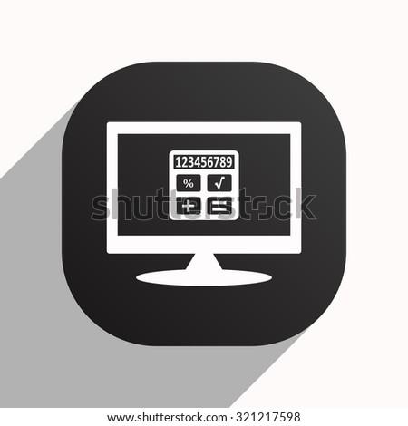 icon calculator. icon. vector design, black button for Mobile Applications - stock vector