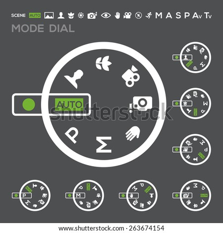 Icon Camera mode dial Set: Auto mode, Program mode, Manual mode, Portrait mode, Sports mode, Landscape mode, Macro mode... in vector. Black background. - stock vector