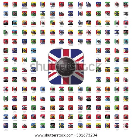 icon camera world flag travel vector color lens  - stock vector
