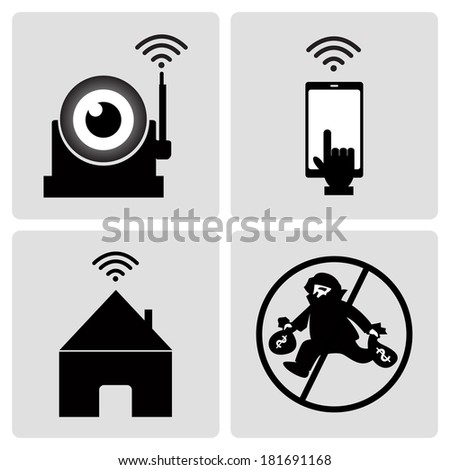 Icon CCTV camera. Security camera system that uses the telephone to order. - stock vector