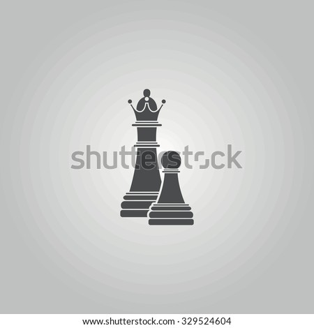 Icon chess pawn with the queen. - stock vector