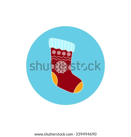 Icon  Christmas Colorful Sock Decorated Snowflakes ,Round Icon Christmas Sock,Icon of Christmas Decorations, Merry Christmas and Happy New Year,  Vector Illustration - stock vector
