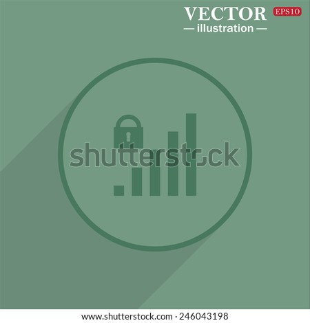 Icon circle on a green background with shadow, signal strength indicator, closed access , vector illustration, EPS 10 - stock vector
