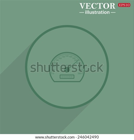 Icon circle on a green background with shadow, speedometer. Vector illustration EPS 10  - stock vector
