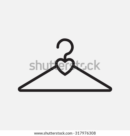 icon clothing hanger hearts, accessories for fashion - stock vector