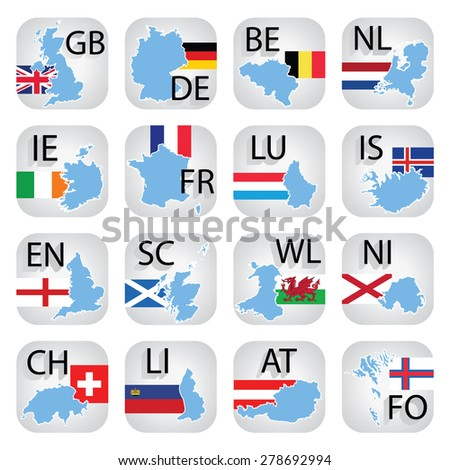 Icon collection of Western Europe countries