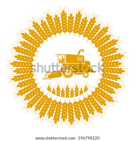 icon combine harvester of wheat ears - stock vector