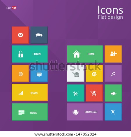 Icon concepts in metro style. Editable vector format. - stock vector