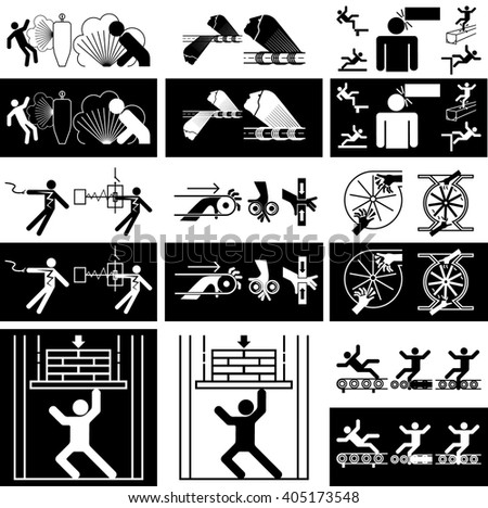 Icon conveyor. Set of images of the rotational nature of the mechanisms of interaction with the person. - stock vector
