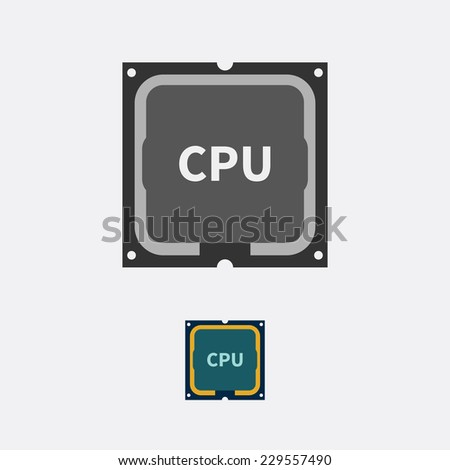 Icon CPU in black and white and color version - stock vector