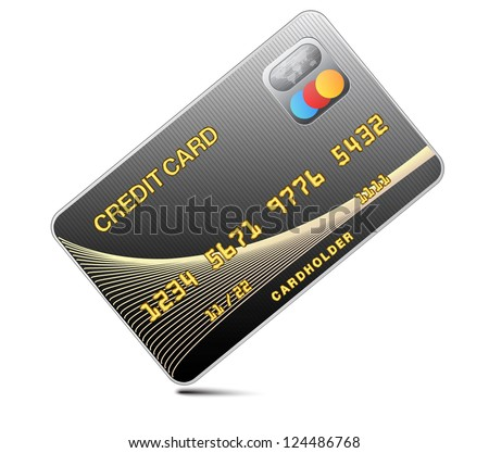 Icon credit card black isolated on a white background.Vector - stock vector
