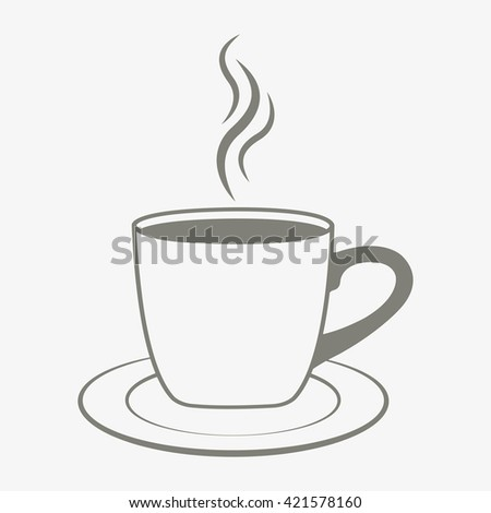 Icon cup of coffee on a saucer. Vector illustration - stock vector