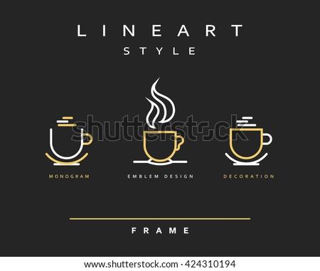Icon cups . Emblem line art design. Elegant brochure for restaurant and coffee. Design menu - stock vector