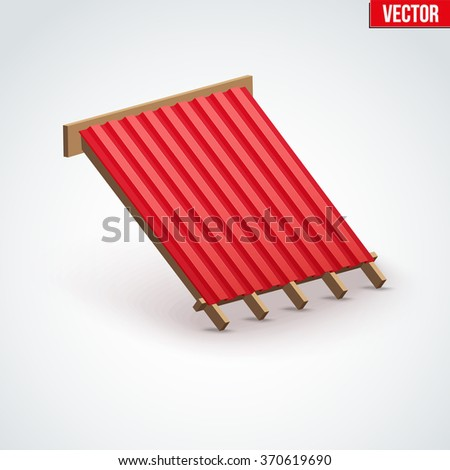 Icon demonstration red metal roofing cover on the roof.  Vector Illustration isolated on white background. - stock vector