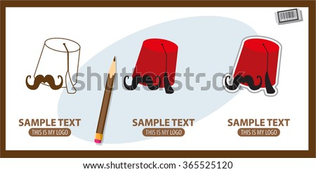 Icon depicting the fez and mustache, traditions of Eastern countries and North Africa. - stock vector