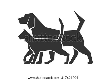 icon dog and cat - stock vector