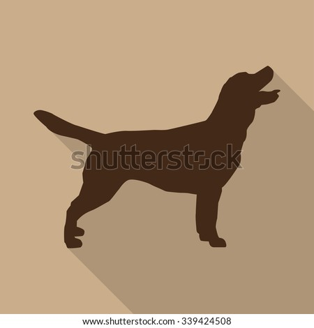 Icon  dog in brown on a biege background in a flat design - stock vector