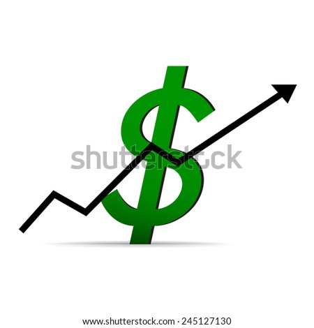 Icon dollar on a white background, arrow up - stock vector