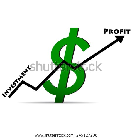 Icon dollar on a white background, the up arrow profit - stock vector