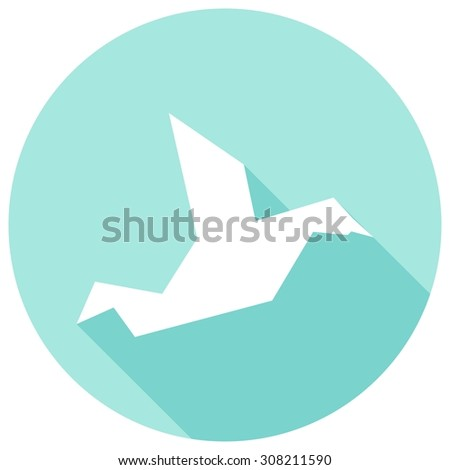 Icon Dove of Peace with a long shadow - stock vector