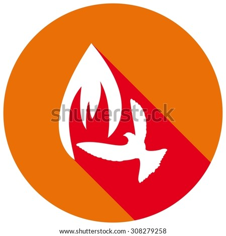 Icon Dove of Peace with fire and a long shadow - stock vector