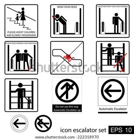 icon escalator set - stock vector