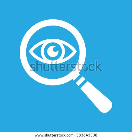 Icon eye with a magnifying glass on a blue background - stock vector
