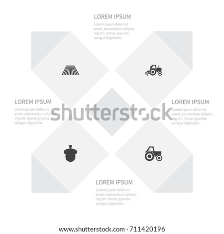 Icon Farm Set Seed Combine Harvester Agronomy Stock Vector 711420196