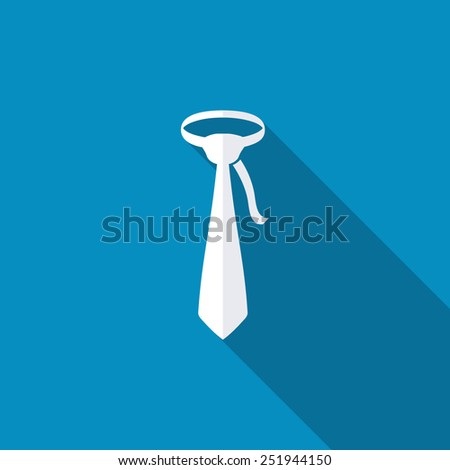 Icon flat necktie, isolated, shaded, blue & white colors - stock vector