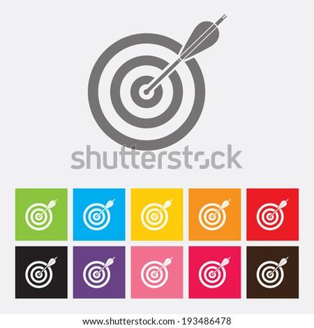 Icon flat target - Vector - stock vector