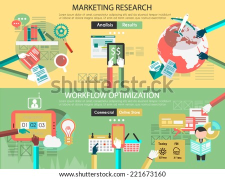 Icon Flat UI designs for marketing research and wrkflow optimization, teamwork project planning, brainstorming , productive chain and business supply - stock vector