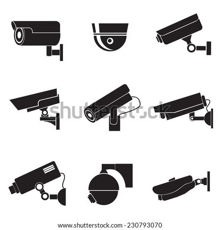 Icon for advertising. A set of cameras. - stock vector