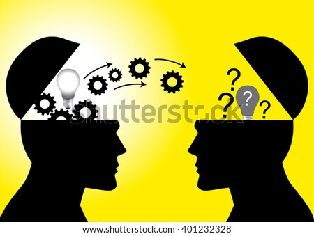 Icon for knowledge or ideas sharing between two people head - stock vector