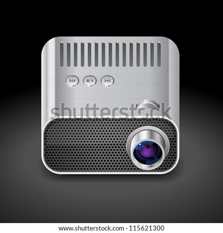 Icon for projector. Dark background. Vector saved as eps-10, file contains objects with transparency. - stock vector