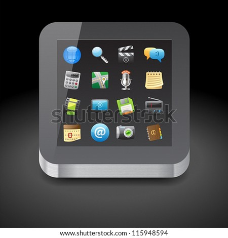 Icon for tablet computer with app icons on display. Dark background. Vector saved as eps-10, file contains objects with transparency.