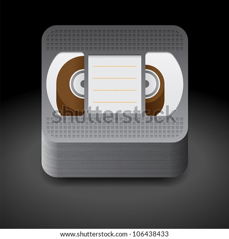 Icon for video cassette. Dark background. Vector saved as eps-10, file contains objects with transparency.