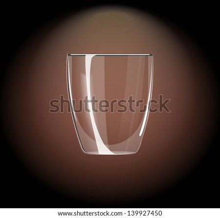 icon glass beaker for shot-cocktail or coffee drinks - stock vector