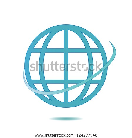 Icon globe  on white background.vector - stock vector