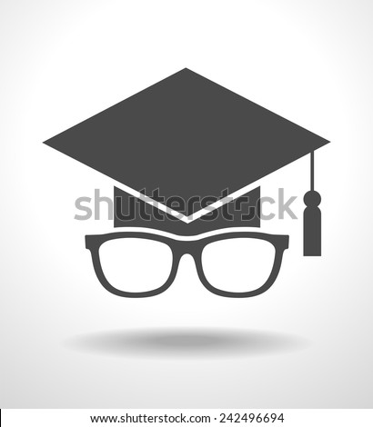 Icon Graduation cap and glasses.  concept of education. The file is saved in the version AI10 EPS. This image contains transparency. - stock vector