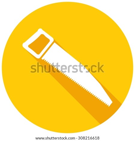Icon hand saw with a long shadow - stock vector
