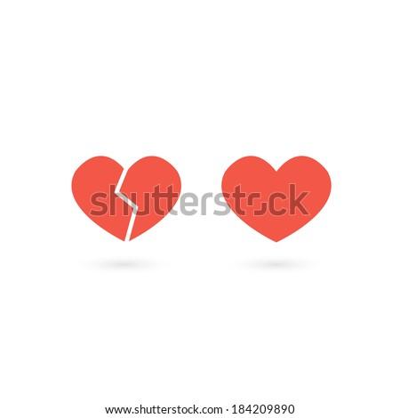 icon, heart, broken heart, vector - stock vector